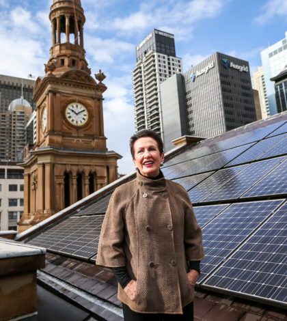 Town Hall, Sydney - 24th June 2016. The City of Sydney leads by example with its Sustainable Sydney 2030 vision. As part of upgrades to Sydney Town Hall, the City of Sydney has installed 240 highly efficient Suntech Pluto solar panels. This is the largest photovoltaic installation in the Sydney CBD. Lord Mayor Clover Moore.